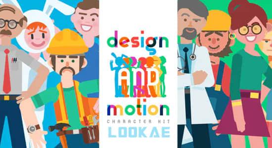 AE模板-设计感人物职业角色动作绑定MG动画片头工具包