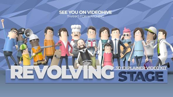AE模板-卡通三维人物角色场景背景元素介绍MG动画片头两套