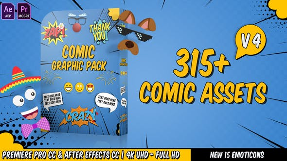 AE模板+PR预设-315组卡通漫画表情装饰对话框气泡动画元素V4