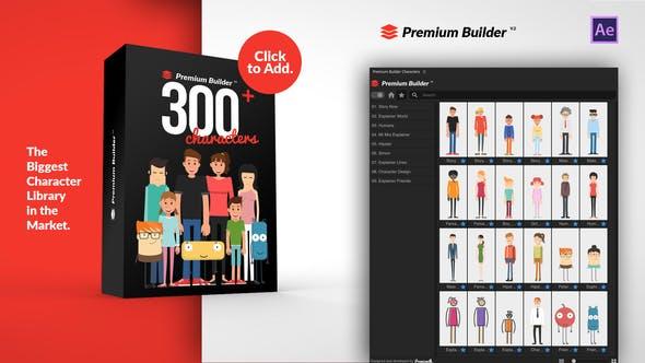 AE脚本-300+卡通人物角色解说MG动画工具包