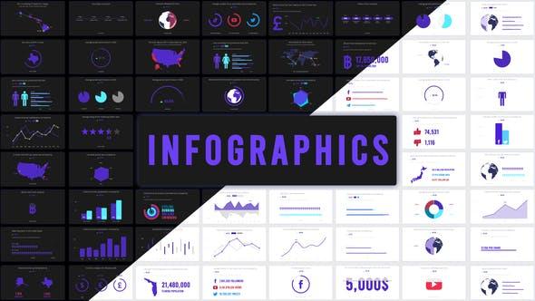 AE模板-127组信息数据柱状图饼状图图表统计动画