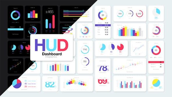 AE模板-100+信息数据柱状图饼状图统计图表动画+500组线条图标