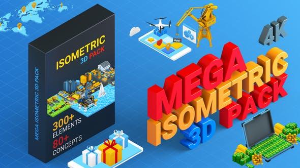 AE模板-300+三维Isometric风格等距图标元素场景MG动画