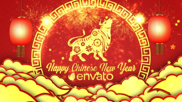 AE模板-2021中国新年春节过年红色喜庆剪纸牛年开场片头