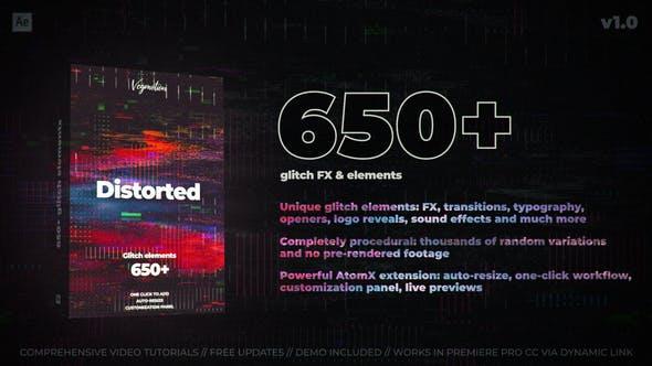 AE脚本-650组信号损坏扭曲特效视频转场文字标题动画预设