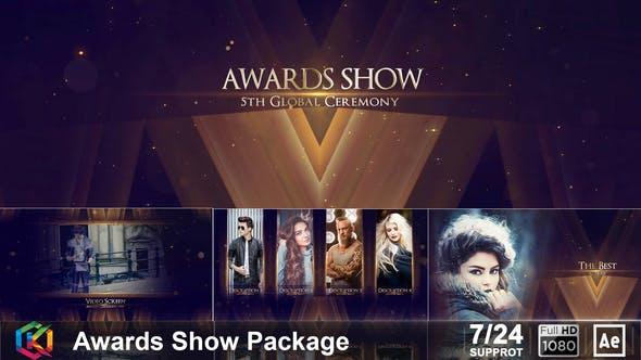 AE模板-华丽金色粒子活动年会颁奖典礼开场片头包装 Awards Show