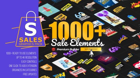 AE模板-1000个网店商城促销降价打折标签文字场景设计图形介绍宣传动画 Sales Graphics Pack