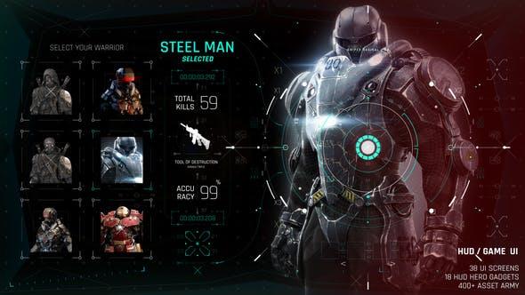 AE模板-400+科技感电影游戏UI界面屏幕HUD动画元素