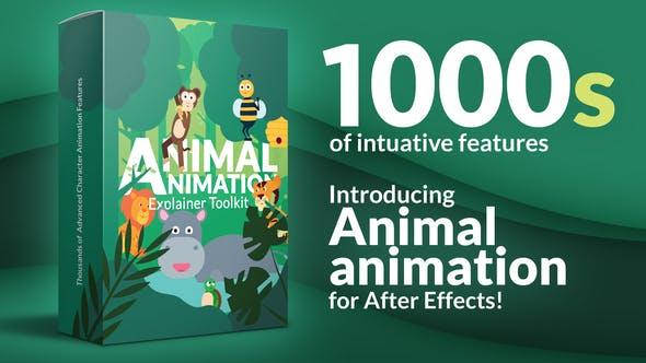 AE模板-动物角色绑定动作卡通MG动画预设工具包V2