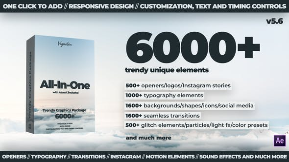 AE脚本+PR预设-6000组扁平化文字标题背景字幕排版指示线Logo图标MG动画 Trendy Graphics V5.6 破解版